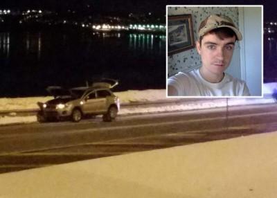 比索内特(小图)一度驾车逃逸,其后在车上自首被捕。