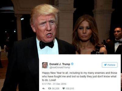 """美国候任总理特朗普以推特发贺文说,""""祝愿各位新春快乐,包我多敌人及所有曾与我也敌却一败涂地到手足无措的口""""。"""