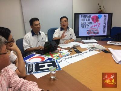 陈诠峰(右)在陈荣兴的陪同下指出,马华槟州联委会将会在2月3日第三届槟州热气球嘉年华展开前,将网上所收集的民意以备忘录的方式呈交给州政府。