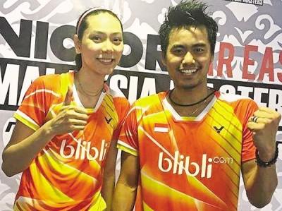 印尼混双名将汤多威阿末(右)与葛罗丽娅(左)成功挺进8强。