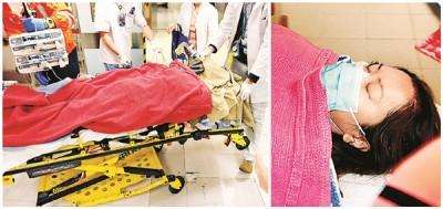(左图)危殆的林慧怡转往玛丽医院救治。(右图)姓赖女伤者下身烧伤,情况严重。