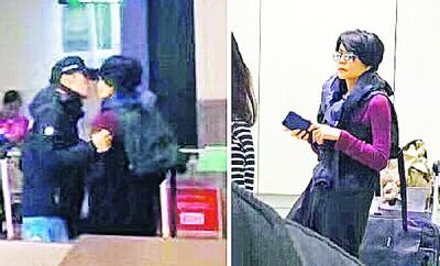 (左图)谢霆锋于目击在航站大厅噘嘴扑向王菲。