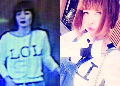 段氏香犯案时(左图)身穿印上LOL字样的白色T恤,与脸书账号照片一样。
