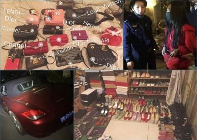 易女拥有保时捷跑车及大批名牌鞋履手袋,却因不还债被锁上手铐带走。