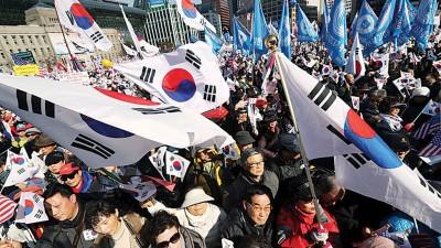 朴槿惠之跟随者亦为当天召开太极旗集会。