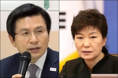 黄教安(左)不容独立检查组的报名,(右)啊朴槿惠。