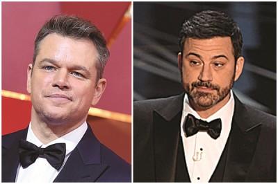 """担任主持人的吉米基墨(右),在开场演说上狠酸""""死对头""""麦迪文,引发爆笑。"""