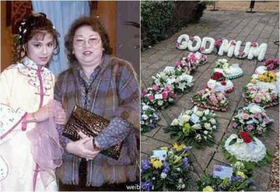 家人昨为翁美玲母亲举行葬礼,许多粉丝自发性送上花篮吊唁。