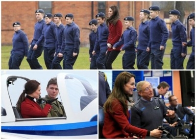 凯蒂到访英国皇家空军的空军学校。