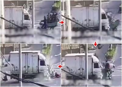 搭载多口之绿色三轮车与迎面驶来的反动货车猛烈冲击,三轮车上大都口给高高弹起及撞飞。