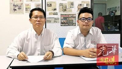 王敬文感谢各方人士协助寻找失踪者;右为谢配贤。