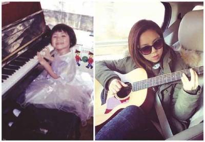 邓紫棋自小学钢琴,为会以空档时练习弹吉他。
