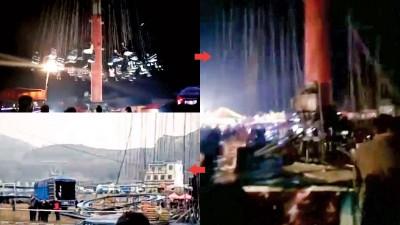 甘肃一个飞椅游戏设施突然从高空坠地,多名游客受伤。