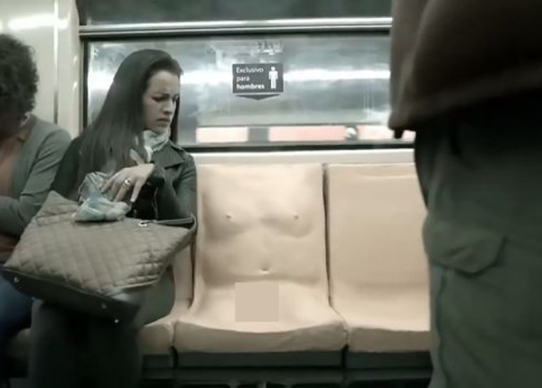 """墨西哥地铁中突然出现""""男性专用座位""""。"""