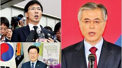 文在寅(右图)党内初选的得票率,力压安熙正(左上图)同李在明(左下图)。