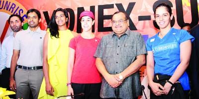 赛娜内娃(右)、玛琳(右3)同印度奥运亚军辛杜(左3)与会发布会。