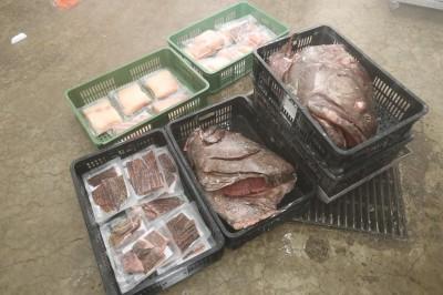 海鲜部员工花了整整3个小时,才把龙趸鱼清理好,并分切成不同部位,方便收藏与烹饪。