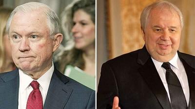 塞申斯(左)到国会的承认提名听证会。基斯利亚克(右)凡是俄罗斯驻美大使。