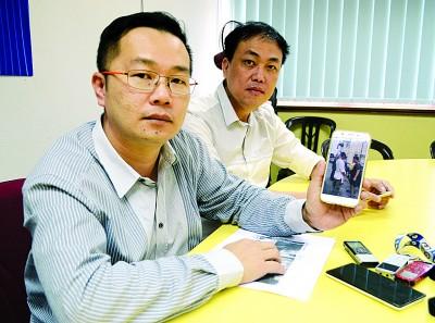 罗添权(左)跟黄继德举行记者会,为受匪徒诬赖的邱秀凤代表,比方有要霹雳马华公会将会见提供免费法律援助。