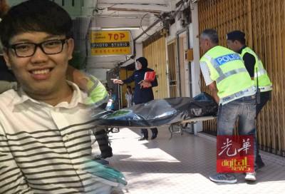 死者谢俊杰遗体被抬上黑车,送往中央医院太平间以便解剖。