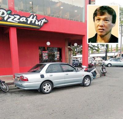 许荣源失踪前其英雄国产轿车停放在太子路店屋旁。小图为失踪者许荣源。
