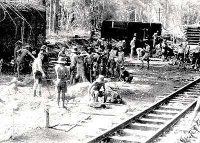 那时建死亡铁路的史照片。(百度百科图片)