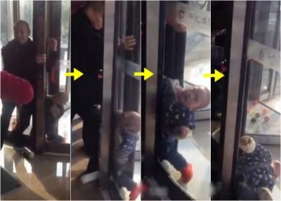 """男童被旋转门紧紧夹住,""""同一只腿在中间,其它一只腿还以外头""""。"""