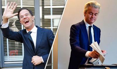 票站调查显示,吕特(左)领导的执政党抛离维尔德斯(右),赢得大选。