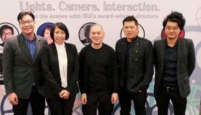 蔡明亮(中)认为影象美学才是电影的本质,所以他一直在拍相关体裁的电影。左起为廖忠权、Pimpaka Towira、Brillante Mendoza及周戴维。