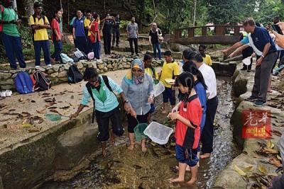 麦慕娜(左2)与英雄园中学的学生涉水,打捞督坤山河水的水生生物。