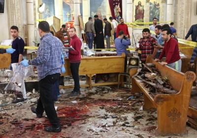 坦塔科普特教堂遭到袭击。(法新社照片)