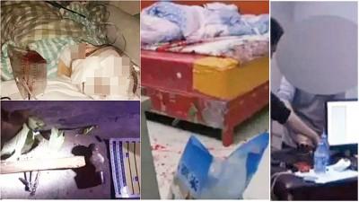 (左上下图)男童接受手术后仍未脱离危险期及伤人的铁槌。(中图)男童房间的地上遗下大量血渍。黄男(右图)事后被警方刑事拘留。