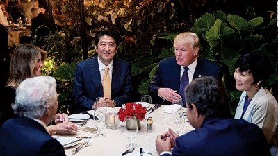 日本首相安倍晋三2月访美时亦曾到访海湖庄园。