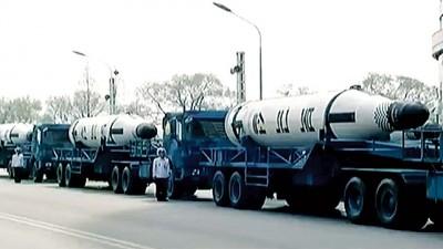 朝鲜首次展示北极星一号潜射弹道导弹。