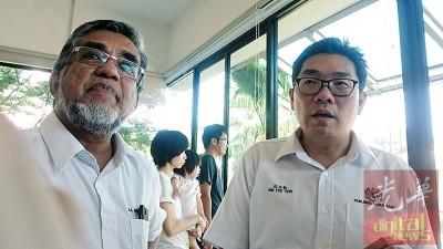 沈志勤(右)在阿都玛力的陪同下指出,交通部已在3月份的国会内透露将会提升槟州国际机场的旅客航站。