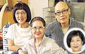 马海伦(左)表示近一个月也没有岳华(右)消息才公开寻人,中间是李琳琳。小图为曾励珍。