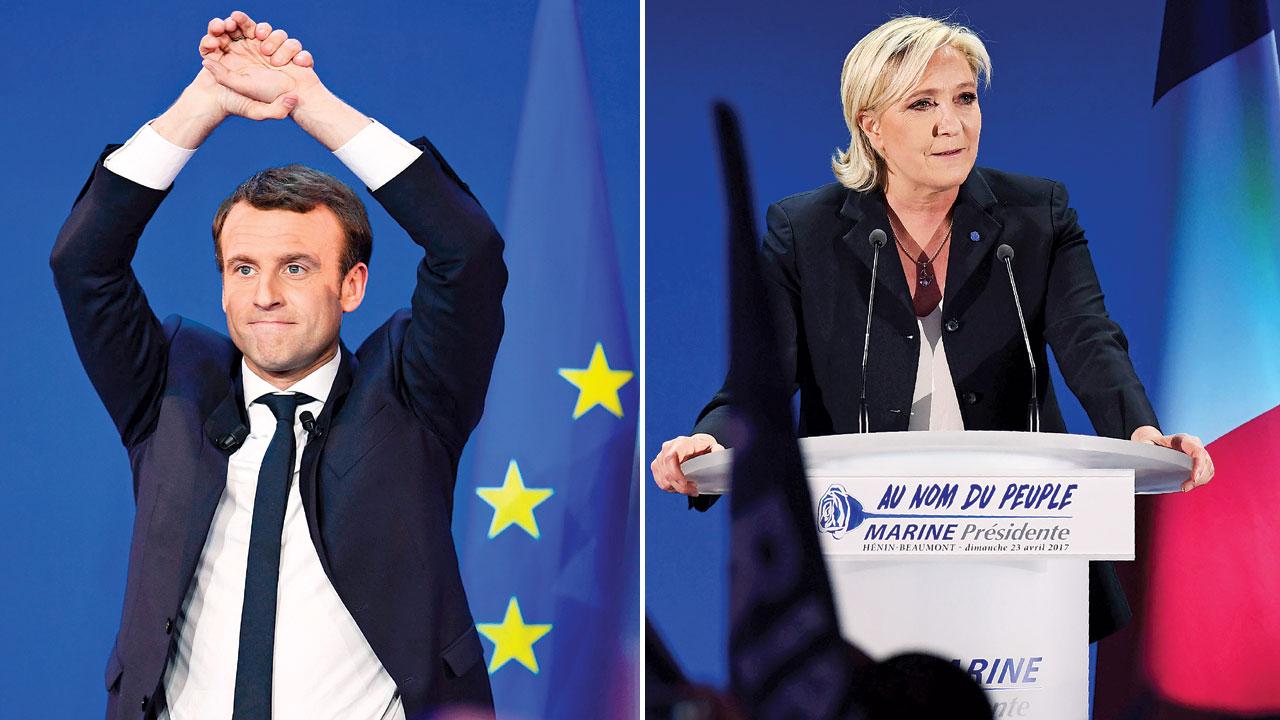 法国总统候选人马克宏(左)及玛琳勒庞(右),晋身第二轮投票。(法新社照片)