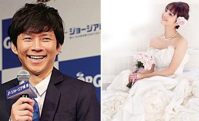 (左)渡部建近年转型为博闻知性形象。(右)佐佐木希与品牌合作设计婚纱。