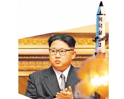 外传金正恩可能下令试射飞弹,右图为朝鲜2月四射北极星飞弹。
