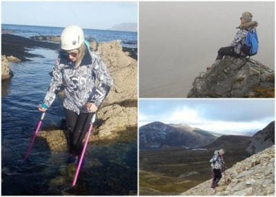 布拉德利靠双脚及拐杖攀越一座座山峰。