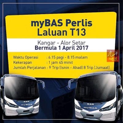 陆路交通委员会宣布4月1日起,myBAS巴士服务展开从加央前往亚罗士打Shahab Perdana巴士站的载送服务。
