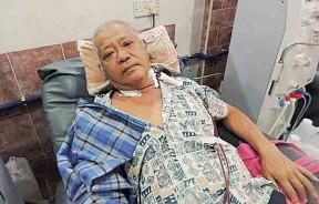 林鸿喜(58岁)筹3万令吉洗肾治疗费。