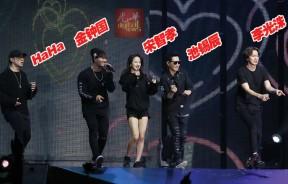 5人在台上载歌载舞,赢得粉丝热烈掌声。