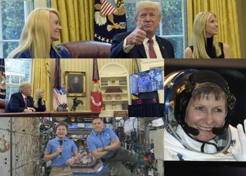 特朗普在白宫祝贺女太空人惠特森刷新太空工作最长纪录。