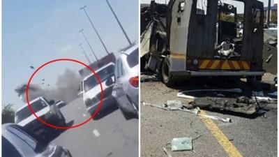 押款车遭截劫炸毁。