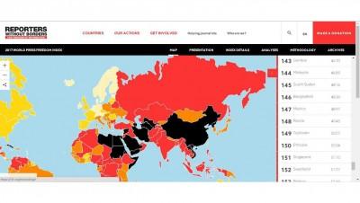 在180国家新闻自由排名中,大马名列144名。