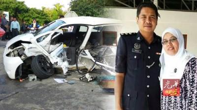 肇祸的丰田轿车毁不成形。右图为莫哈末诺与妻子的生前合照。