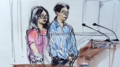 男女被告在庭上时的绘图。