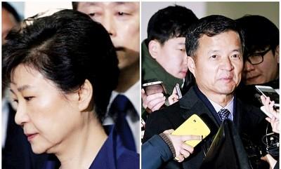 朴槿惠(右图上)又受侦讯;柳在景(右图下)曾正式请辞。