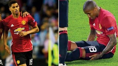 曼联在欧洲联赛取胜的代价,就是拉什福德(19号)和阿什利扬(18号)受伤,影响联赛布阵。
